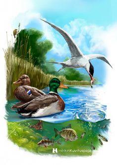 Saaristomerellä -  Saaristomeren luonnon ja koululuokista tuttujen opetustaulujen innoittamana. #Saaristomeri #Tietokonemaalaus #luonto #CG #Heikinkuvituspaja