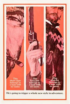 A Fistful Of Dollars one sheet movie poster. advance teaser style B. Sergio Leone. Clint Eastwood