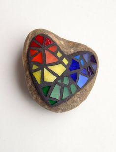 Mosaic Rainbow Heart Decorative Rock, Garden Stone, Paperweight, Handmade Stained Glass Mosaic Design by GreenBananaMosaicCo