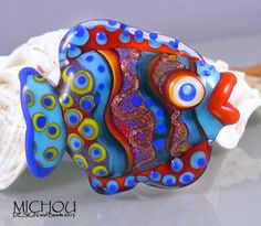 Funky Fish blue  Lampwork bead by Michou P by michoudesign on Etsy, $69.00