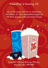 Movie theater birthday party invitation ~ great tween and teen party idea