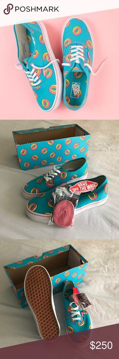 Vans Odd Future Authentic Scuba Blue Donut Shoes Limited Edition Odd Future x Vans skate shoe featuring signature Golf Wang pink donut print on a bright Scuba Blue colorway. Low profile Authentic style with pink foxing stripe, white side-stripe, and lightly cushioned printed liner. Vans logo in pink at cloth upper tag and at heel.  New. Box is missing the lid. Never worn. Ultra rare. Size 6.5 men / 8 women OFWGKTA Shoes Sneakers