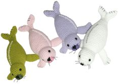 How to crochet knitting a seal (amigurumi) Crochet Boat, Free Crochet Bag, Crochet Cross, Cute Crochet, Crochet Sea Creatures, Fabric Toys, Knitted Animals, Stuffed Animal Patterns, Crochet Patterns Amigurumi