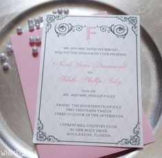Pink Wedding Invitations - Wedding Suite with Belly Band, Pink and Gray Wedding Invitation. $6.00, via Etsy.