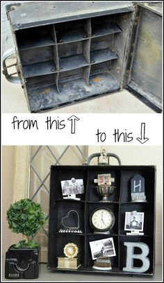 Trash to Treasure Cubbies. How  I turned an ugly old carrying case into a one-of-a-kind display shelf. From MySalvagedTreasures.com