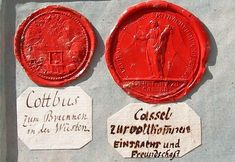 Pictured above are historical wax-seals found on precious Masonic documents of mainly German Freemason-Lodges