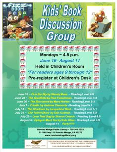 Monday Kids' Book Discussion Group for 9 to 12 year-olds