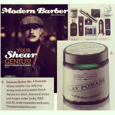 Thanks @modernbarbermag for featuring our No.4 Clay Pomade in the latest issue #TheDaimonBarber #grooming #pomade #No4