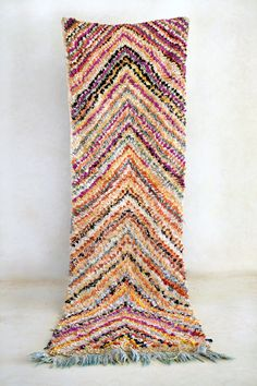 APRIL FAIR 8'7 x 2'8 Boucherouite Rug. Tapis Moroccan by pinkrugco