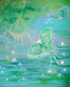 LUNA FANTASY Original Watercolor Like Moths and Lily Pads with Light Reflection 20x20. $260.00, via Etsy.