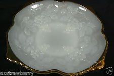 Anchor Hocking White Milk Glass Grape Pattern Decorative Gold rim  Bowl Dish