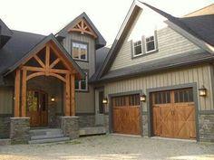 Garage doors and front porch beams.