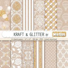 Download Kraft and Glitter Digital Paper
