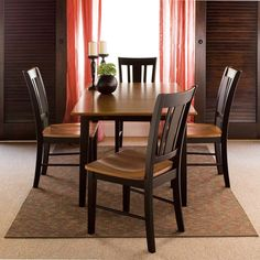 International Concepts Middleton 5 Piece Dining Table with 4 San Remo Chairs - Black/Cherry, Red/Black Solid Wood Dining Set, 5 Piece Dining Set, Dining Room Sets, Dining Chair Set, Real Wood Furniture, Dining Furniture, Expand Furniture, Unfinished Furniture, Dining Decor