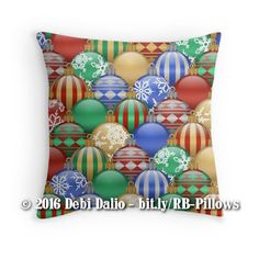 This seasonal throw pillow features a multitude of decorative colorful Christmas globe ornaments in red, green, blue, and gold arranged in a repeating pattern. http://www.redbubble.com/people/debidalio/works/23332734-colorful-decorative-christmas-ball-ornaments-pattern?p=throw-pillow #homedecor #bedding #StudioDalio #Redbubble