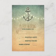Shop vintage nautical wedding RSVP card created by jinaiji. Vintage Nautical Wedding, Seaside Wedding, Destination Wedding, Wedding Reply Cards, Wedding Rsvp, Wedding Color Schemes, Wedding Colors, Response Cards, Wedding Themes