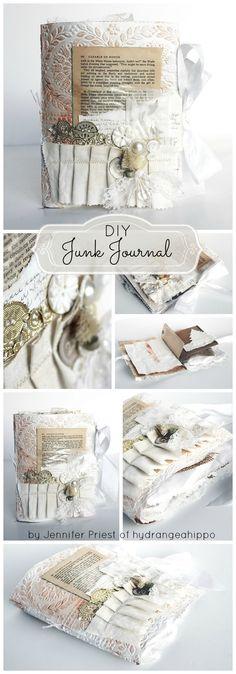 How to Make a Junk Journal (video inc) by Jennifer Priest, Hydrangea Hippo