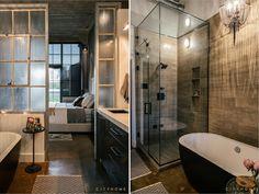 master bedroom, master bath, concrete floor, vintage glass, black bath tub, white, gray, black, Andrea Beecher, cityhomeCOLLECTIVE