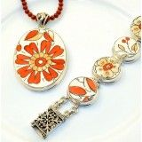 Beautiful floral custom made orange and white sterling silver recycled china pendant and bracelet