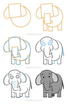 How to draw an elephant - Comment dessiner un éléphant