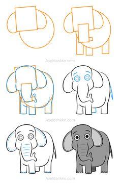How to draw an elephant - Comment dessiner un éléphant