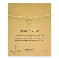 make a wish elephant bracelet, gold dipped