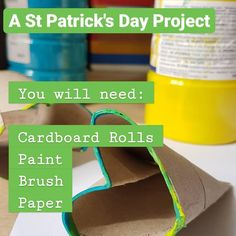 Learn how to make stamps from cardboard rolls and paint your own Shamrock Art And Craft Videos, Easy Arts And Crafts, Arts And Crafts Projects, Cardboard Rolls, Craft Corner, Project Yourself, Kids House, Teaching Kids, St Patricks Day