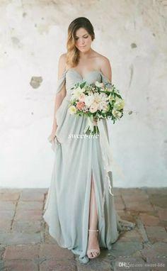 d6a22dab16 Line Sweetheart robe de soiree Empire Prom Side Split Chiffon Wedding Party  Maid of Honor Dress Eegant Beach Bridesmaid Dresses 2017