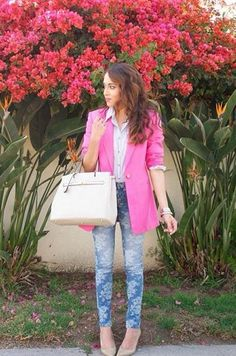 Cult of Individuality floral teasers skinnies paired with a pretty pink blazer. Perfect look for Spring!