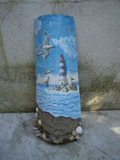 Wine Bottle Art, Wine Bottle Crafts, Slate Art, Diy And Crafts, Arts And Crafts, Lighthouse Painting, Roof Tiles, Painted Rocks, Decoration