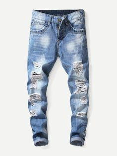 a2deea50 Men Washed Destroyed Jeans. New Mens FashionDenim ...