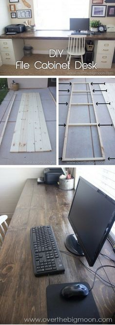 How to build a # DIY desk from filing cabinets and wooden planks., How to build a # DIY desk from filing cabinets and wooden planks. # file barriers # build # a # wooden planks. Home Office Design, Home Office Decor, Diy Home Decor, Diy Office Desk, Office Table, Hone Office Ideas, Fall Bedroom Decor, Office Setup, Small Office