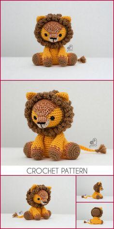 Amigurumi Lion Free Crochet Patterns and Tutorials Video - Amigurumi Crochet Patterns Free Crochet, Knit Crochet, Crochet Hats, Half Double Crochet, Single Crochet, Slip Stitch, Free Pattern, Lion, Crochet Patterns