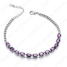 18K White Gold Plated Purple Swarovski Crystal Bangle Emulational Diamond Bracelet B037W2