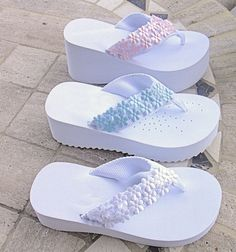 4555180c43727 Platform Bridal Flip Flops in White or Black with Choice of Colors -  Hand-Decorated Flip Flops with Flowers