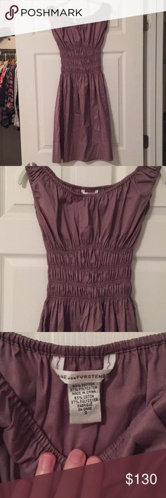 Diane von Furstenberg lavender dress size 0 Beautiful Diane von Furstenberg A-line dress. Size 0. Worn once. Very soft, stretchy mid section, gorgeous lavender color, has pockets. Diane Von Furstenberg Dresses