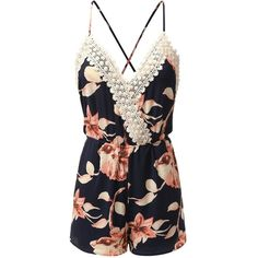 Amazon.com: Doublju Crochet Floral Printed Romper: Clothing ($25) ❤ liked on Polyvore featuring jumpsuits, rompers, floral rompers, floral romper, playsuit romper, floral print romper and flower print romper