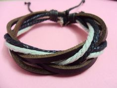 Adjustable3 pcs Leather and cotton ropes Woven by braceletcool, $3.00