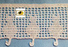 crochet borders Feline Bottom Line Filet Crochet Edging Filet Crochet, Crochet Chart, Thread Crochet, Crochet Stitches, Crochet Edging Patterns, Crochet Borders, Crochet Motif, Diy Crochet, Crochet Hooks