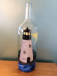 Lighthouse painted wine bottle by Vino & Vernici
