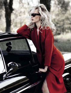 Glamour Italia August 2012 Love the hair, sunglasses and red coat.  Yowza! not my comments lol but    ditto