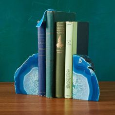 These Agate Bookends are dyed and polished to reveal naturally occurring patterned rings.