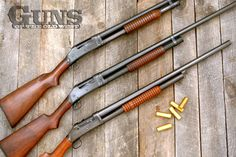 Three of Winchester's pump action variations: the Model 1893 (bottom), the Model 1897 (center) and the Model 97 (top), which is distinguished by the flat bottom forend put into production in 1947, half a century after the gun was introduced. Also note the change over time from the rounded pistol grip, copied from the 1887 lever action, to the half-pistol grip introduced during Model 1897 production.