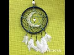 Dream catcher with crescent moon -- You Tube Video. Dream Catcher Tutorial, Wreath Crafts, Wreath Ideas, Native American Crafts, Love My Kids, Macrame Tutorial, String Art, Mandala Art, Projects To Try