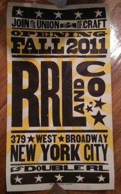 Nashville style. RRL Ralph Lauren Poster. Cool Typography, Typography Design, Denim And Supply, Levis, Nashville, Fonts, Ralph Lauren, Menswear, Graphics