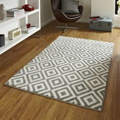 Covor Think Rugs Matrix, 120 x 170 cm, gri - alb Home Living, Living Spaces, Living Rooms, Grey And White Rug, Machine Made Rugs, Design Moderne, Geometric Rug, Red Rugs, Modern Rugs