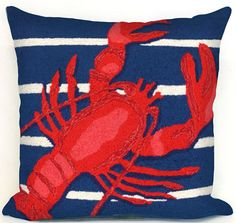 Liora Manne Frontporch Pillows Lobster on Stripes Pillows | Rugs Direct
