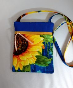 Crossbody Purse Cross Body Pocketbook Sunflower Fabric Shoulder Bag E Book Pouch Back Pocket Gift for Her by Quiltwear on Etsy