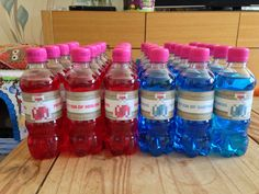 Drinks for Jacks minecraft party. Bubblegum flavour for the potion of swiftness and cherryade for the potion of healing. Found the labels to print online.