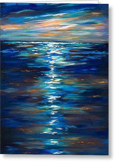 Dusk On The Ocean Greeting Card by Linda Olsen